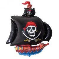 Шар (32'' 81 см) Фигура, Пиратский корабль, Черный, 1 шт.