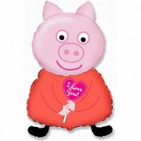 Шар (32'' 81 см) Фигура, Поросенок с сердцем, Розовый, 1 шт.