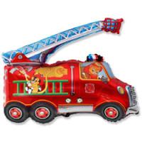 Шар (32'' 81 см) Фигура, Пожарная машина, Красный, 1 шт.