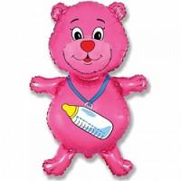 Шар (32''81 см) Фигура, Медвежонок-девочка, Розовый, 1 шт.