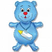 Шар (32''81 см) Фигура, Медвежонок-мальчик, Синий, 1 шт.