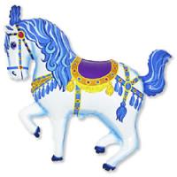 Шар (36'' 91 см) Фигура, Лошадь карусельная, Синий, 1 шт.