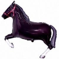 Шар (36''91 см) Фигура, Лошадь, Черный, 1 шт.