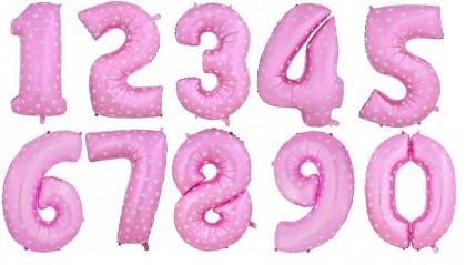Шар (40''/102 см) Цифра, Розовый в сердечко, 1 шт.